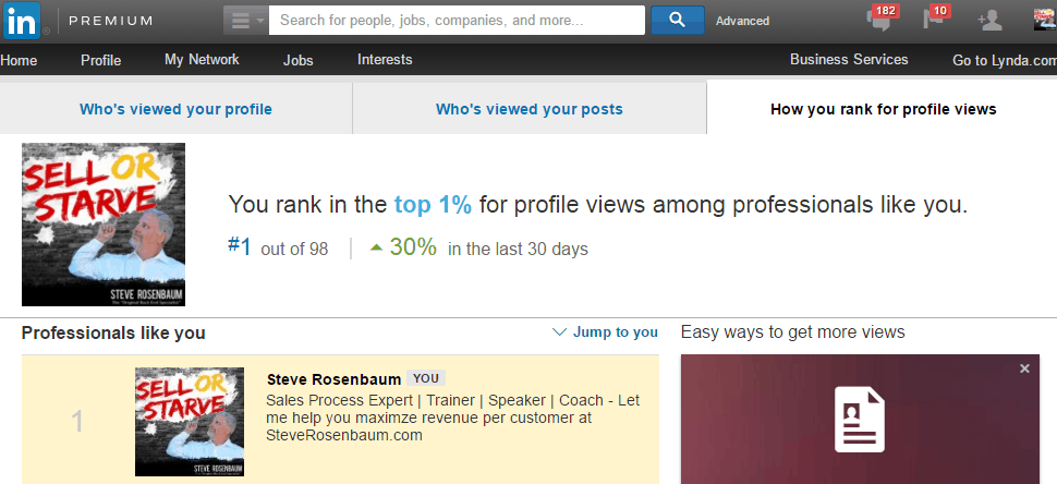 First Place LinkedIn Profile Proof