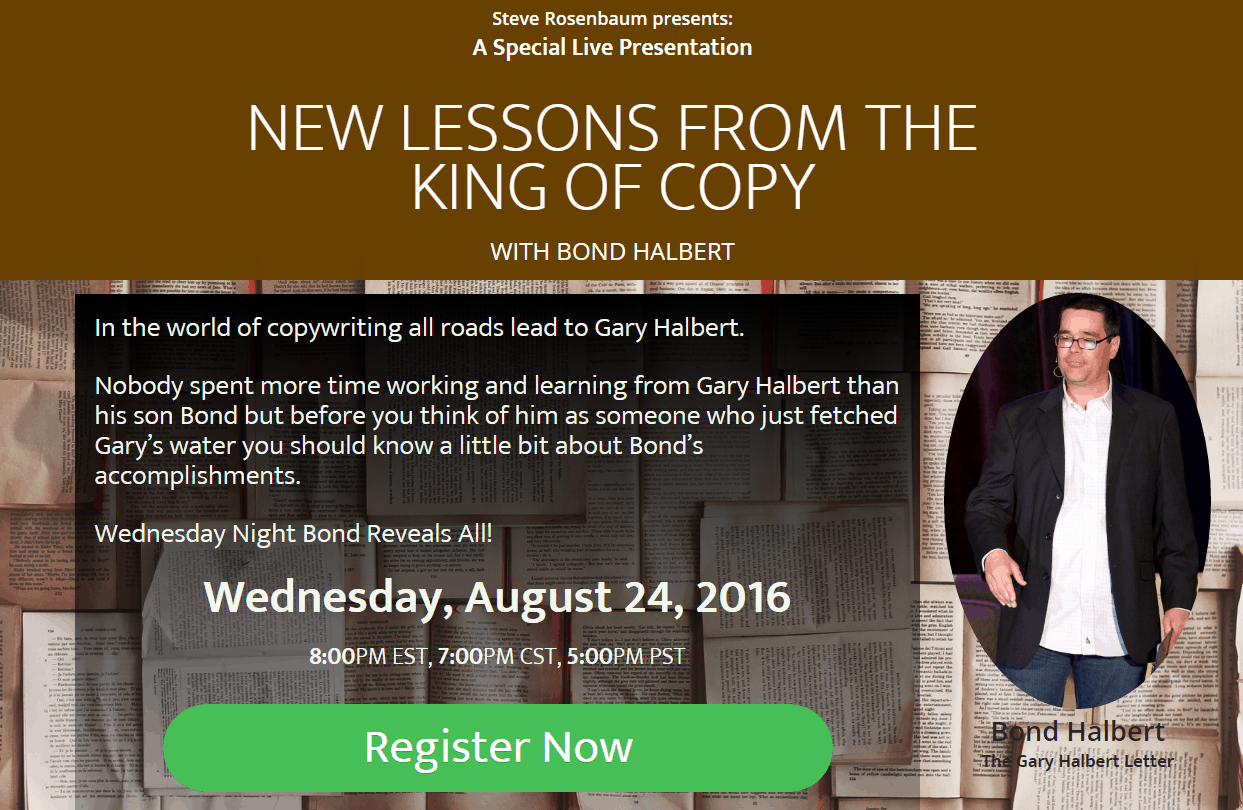 Marketing Ideas Webinar: New Lessons From The King of Copy Webinar